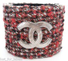 $2600 CHANEL Dark Red Tweed Silver CC Logo Wide Bracelet Multicolor Cuff NWT
