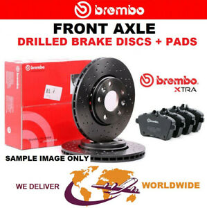 BREMBO Drilled Front BRAKE DISCS + PADS for SKODA RAPID Spaceback 1.4TSi 2012-on