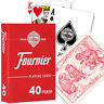 FOURNIER 40 POKER PLASTIC COATED PLAYING CARDS DECK RED BLUE STANDARD NEW