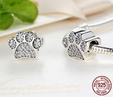 Dog Paw Charm Genuine Sterling Silver 925 Love My Pet Cat Animal Pave