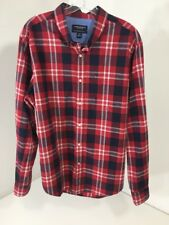 AMERICAN EAGLE MEN'S BUTTON UP LONG SLEEVE SHIRT PLAID  RED/NAVY LARGE NEW