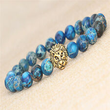 Vintage Men Blue Sea Sediment Jasper Stone Gold Lion Beaded Charm Bracelet 8mm