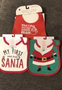 Lot Of 3 Christmas HOLIDAY Bibs 1 Silicone Pocket  Bib WHAT A MAN & 2 Teething