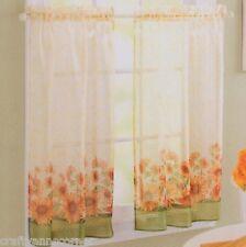Country Sunflower Green Yellow Kitchen Curtain 24L Tier Set S Lichtenberg