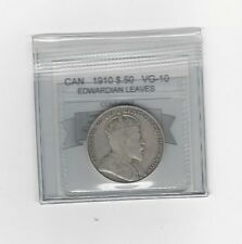 **1910 Edwardian Leaves**,Coin Mart Graded Canadian Silver 50 Cent, **VG-10**