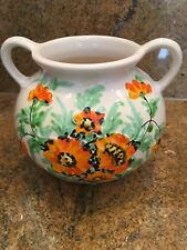 """Vintage Toscana South Coast Village Italian Porcelain Cachepot With Poppies 7"""""""