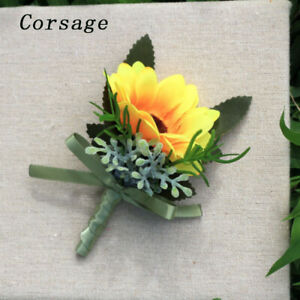 Wedding Bridal Wrist Pink Corsage Bracelet Groom Boutonniere Flowers Sunflower