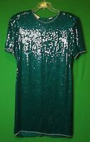 Laurence Kazar Womens XL Cocktail Dress Green Beaded Sequins Shoulder Pads
