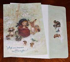 VTG UNUSED Christmas Card MARY HAMILTON Embossed Glitter DEER WOODLAND ANIMALS