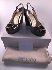 Jimmy Choo Betsy Wedge Sandals Liquid Patent Steel size 6 - 36