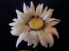 "Millinery Flower Velvet Daisy 3"" Shaggy White Yellow Cnter Y105 Hat Wedding Hair"