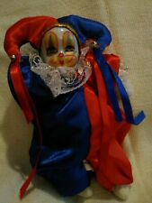 Vintage Irene/'s Porcelain Face Clown with  Satin Outfit Collectible