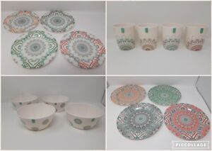 4 Pack EDGO Melamine Plates Bowls Tumblers Abstract Summer Design Various Sizes
