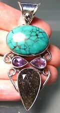 925 silver 20gr turquoise, cut tourmalated quartz & cut amethyst pendant.