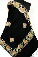 Crewel Embroidered Wool Shawl Green & Tan on Black Kashmir Embroidery Stole