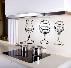 Wine Glasses Kitchen Wall Art Sticker Restaurant Decal Pub Home Decorations Cool