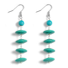 NWT Drop EARRINGS Howlite Stainless Steel J Hooks TGW 57.75 cts Turquoise Look