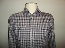 Men's BANANA REPUBLIC LS Shirt Purple Plaid Size Small Slim Fit
