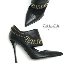 SERGIO ROSSI Black CUT OUT Ankle Boots Booties Heels GOLD HARDWARE 38 7.5 $1150