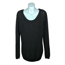 Seed Heritage Womens Jumper Size S Black Long Sleeve Sheer Knit Zippers