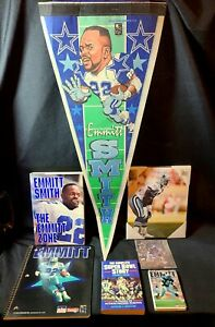 HUGE Emmitt Smith  Collectibles pennant/books/notebooks/ lot COWBOYS!