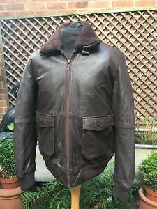 Barney & Taylor brown leather & fur flight Bomber Casual jacket size men's large
