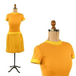 Vintage 60s All Wool Yellow + Orange Knit Mod Drop Waist Sweater Dress XS