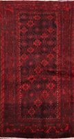 Tribal Geometric Balouch Afghan Area Rug Hand-knotted Wool Kitchen Carpet 3x6 ft