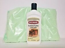 Weiman Furniture Cream with Lemon Oil, 8 fl oz. With Bonus 2 Microfiber Cloths