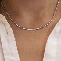 3.5 ctw Natural Diamond (G-H, SI) 14k White Gold Thin Dotted Tennis Necklace 16""