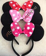 3 Minnie Mouse Ears Headbands Black Plush Pink Fuchsia Red Polka Dots Kid Adult