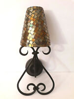 Vtg style Metal Wall Sconce stained Glass Candle Holder Tiffany Style Tea Light