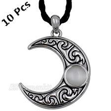 Wholesale 10 Pcs Men Women Crescent Moon Stone Lunar Goddess Pendant Necklace