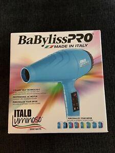 BaBylissPRO Italo Luminoso Hair Dryer (Blue) Made In Italy