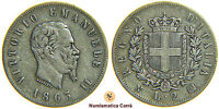 VITTORIO EMANUELE II -  2 LIRE STEMMA 1863 NAPOLI - SAVOIA (nc1474)