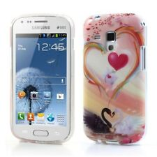 TPU Case Samsung Galaxy S Duos GT-S7562 Cool Skin Case Cover 2 Swans Heart