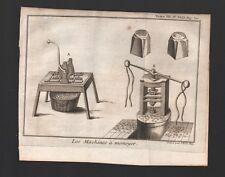 Les Machines à Monoyer  Fabrication de la Monnaie Gravure Engraving  1746