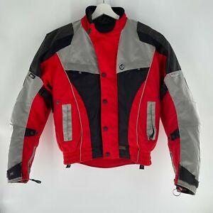 VTG Belstaff Motorcycle Biker Jacket Textile Red Grey Black Waterproof Mens Sz M