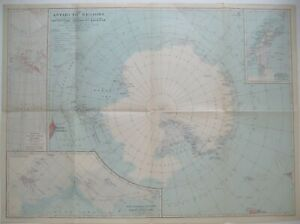 1932 Map ANTARCTICA South Pole Byrd Shackleton Amundsen Scott Wilkes Weddell Sea
