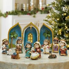 More details for 12 piece baby nativity table top ornament set