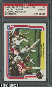 1980 Fleer Team Action Football #7 Chicago Bears Coming Through PSA 9 MINT