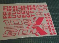 1 planche Autocollant  Peugeot 103 sp spx rcx chrono  couleur rose Fluo