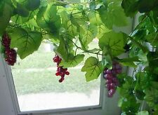 3 Bunches Wine Red Grapes Artificial The Grape Leaf Vine Hangings Garland