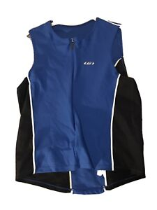 LG Louis Garneau Womens Cycling Sleeveless Zip Shirt Blue & Black **READ