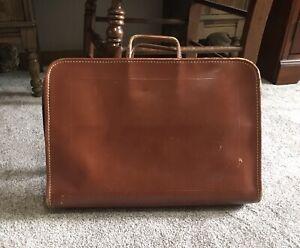 Vintage LEATHER Zip-Around Retractable Portfolio Leather Briefcase Bag