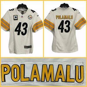 "Kids Youth Women's TROY POLAMALU Pittsburgh Steelers White Sewn ""C"" Jersey LG."