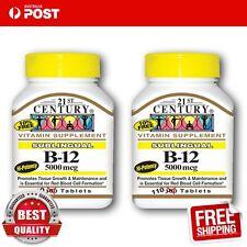 21st Century Vitamin B12 Sublingual B-12 5000 mcg 110 Tablets x 2 bottles