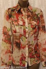 Karen Millen Floral Smudge Sheer Silk Pocket Long Sleeve Shirt Blouse  10 38