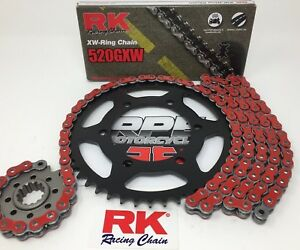 Red Ducati 750 Monster 1998-2001 RK GXW XW-Ring Racing Chain and Sprockets Kit