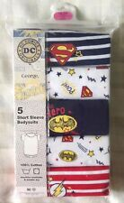 DC Comics Superhero ~ 5 x Baby Boys Bodysuits/Vests/Romper Batman/Superman/Flash